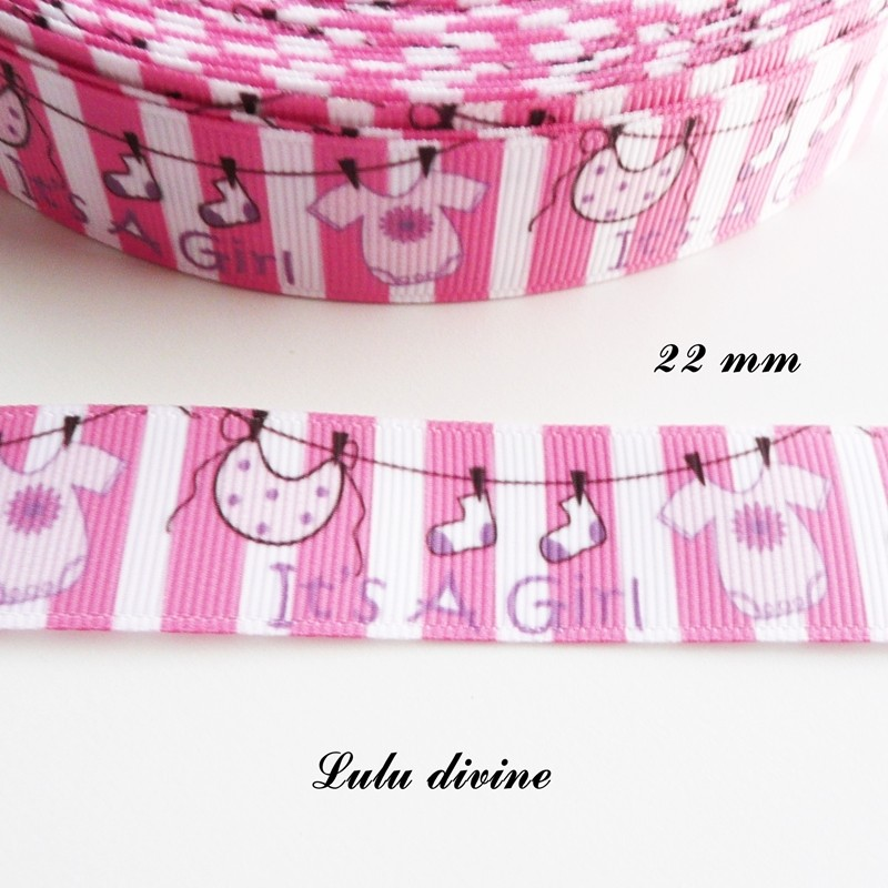 ruban gros grain blanc rose ray it 39 s a girl c 39 est une fille bavoir chausson body de 22 mm. Black Bedroom Furniture Sets. Home Design Ideas