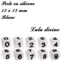 Perle en silicone 12 x 12 mm Blanc Chiffre