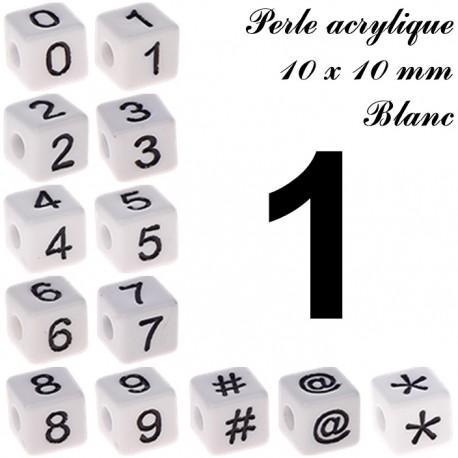 Perle acrylique 10 x 10 mm Blanc Chiffre