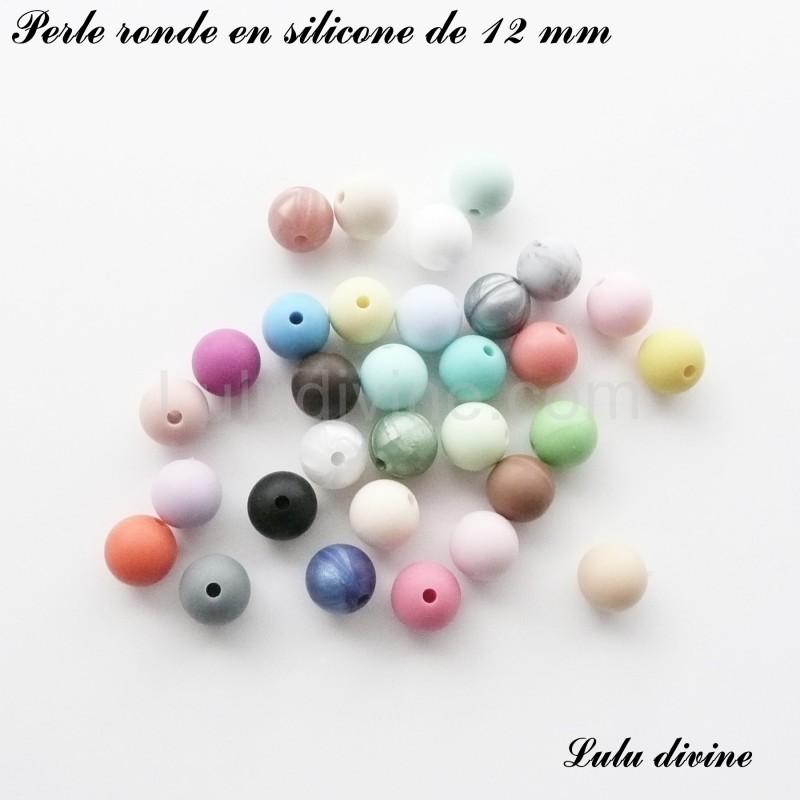 lot de 10 perles Perle ronde en silicone de 12 mm Blanc