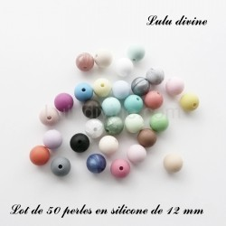 50 perles silicone 12 mm