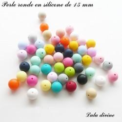 Perle en silicone ronde 15 mm