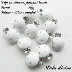 Clip silicone boucle Rond Blanc / Blanc marbré