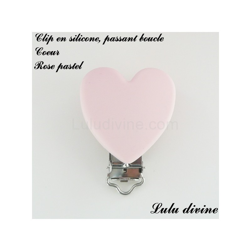 Pince coeur Clip coeur Attache tétine doudou passant de 20 mm : Noir