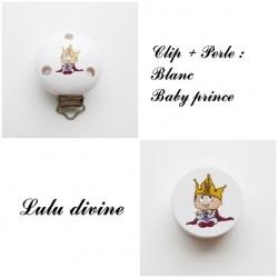 Clip bois + Perle Blanc : Bébé prince