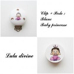 Clip bois + Perle Blanc : Bébé princesse