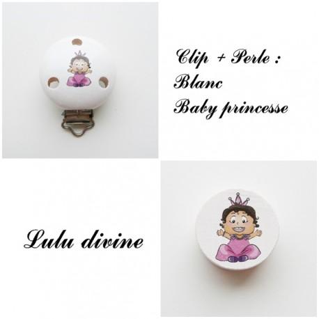 Blanc Pince en bois Bébé princesse Clip en bois et sa perle Baby princess