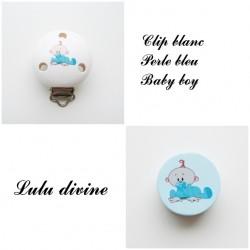 Clip bois + Perle Bleu : Bébé garçon / Baby boy