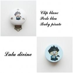 Clip bois Blanc + Perle Bleu : Bébé pirate