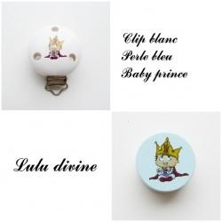 Clip bois Blanc + Perle Bleu : Bébé prince