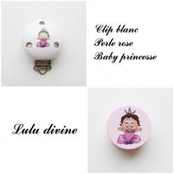 Clip bois Blanc + Perle rose : Bébé princesse