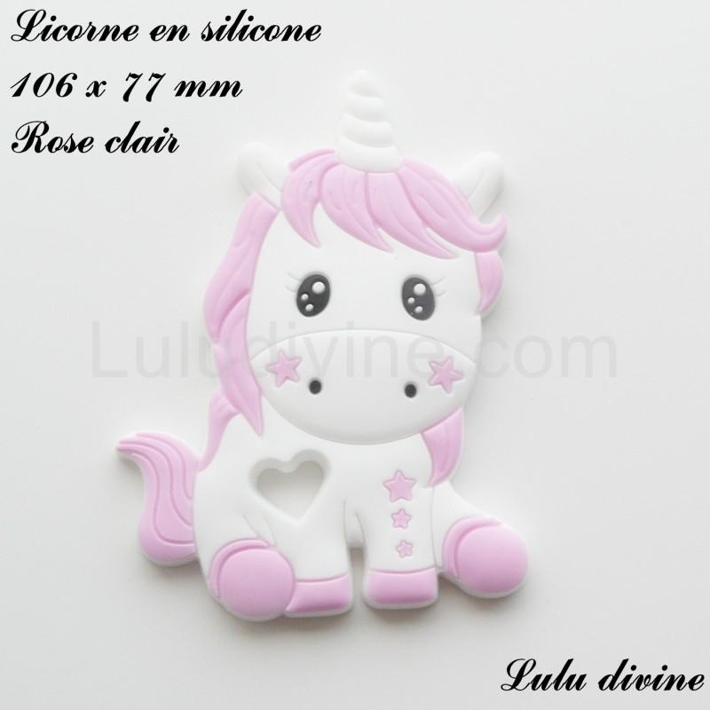Licorne en silicone de 106 x 77 x 9 mm Rose clair