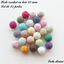 Lot de 25 perles crochet en bois