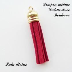 Pompon Dorée 6 cm Bordeaux
