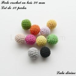 Lot de 10 perles crochet en bois