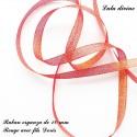 Ruban organza 10 mm Rouge fils Dorés 70 cm