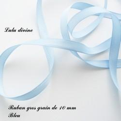 Ruban gros grain 10 mm : Bleu