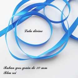 Ruban gros grain 10 mm : Bleu roi