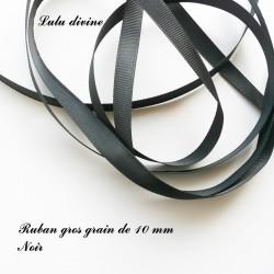 Ruban gros grain 10 mm : Noir