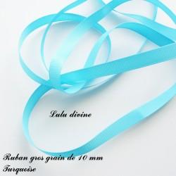 Ruban gros grain 10 mm : Turquoise