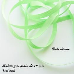 Ruban gros grain 10 mm : Vert anis