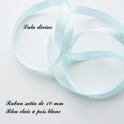 Ruban satin 10 mm Bleu clair à pois blanc