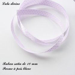 Ruban satin 10 mm Parme à pois blanc