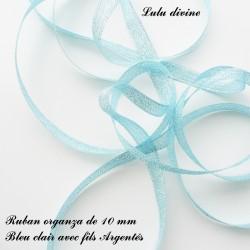 Ruban organza 10 mm Bleu clair fils Argentés