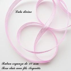 Ruban organza 10 mm Rose clair fils Argentés