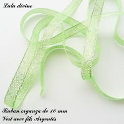 Ruban organza 10 mm Vert fils Argentés