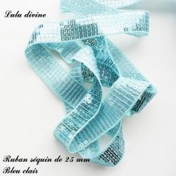Ruban séquin 25 mm Bleu clair