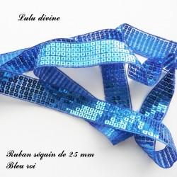 Ruban séquin 25 mm Bleu roi