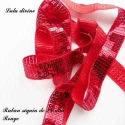 Ruban séquin 25 mm Rouge
