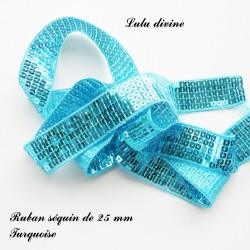 Ruban séquin 25 mm Turquoise