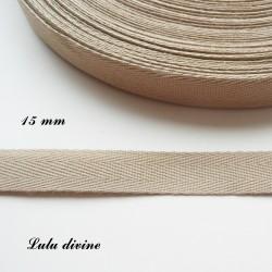 Ruban sergé 15 mm Beige