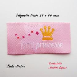 Étiquette tissée : Petite princesse (rose Couronne)