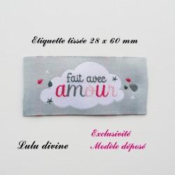 Étiquette tissée : Fait avec amour (grise Nuage)