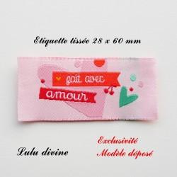 Étiquette tissée : Fait avec amour (rose Cœur)
