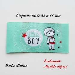Étiquette tissée : Little boy (verte Bulle Petit garçon)