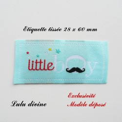 Étiquette tissée : Little boy (bleue Moustache)