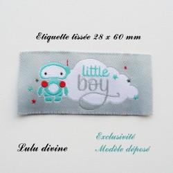 Étiquette tissée : Little boy (grise Nuage Robot)