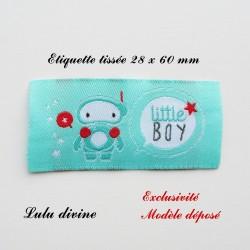 Étiquette tissée : Little boy (turquoise Bulle Robot)