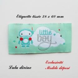 Étiquette tissée : Little boy (verte Nuage Robot)