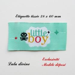 Étiquette tissée : Little boy (verte Robot noir)