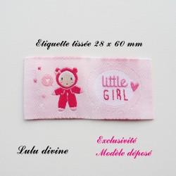 Étiquette tissée : Little girl (rose Bulle Poupée)