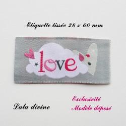 Étiquette tissée : Love (grise Nuage)