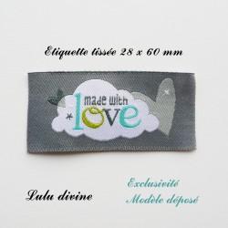 Étiquette tissée : Made with love (grise Nuage)