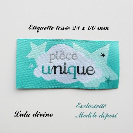 étiquette Tissée Pièce Unique Turquoise Nuage à Coudre Idéal