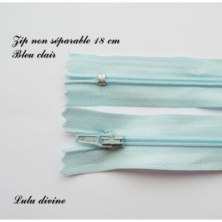 Couleur Bleu Zip// Fermeture éclair simple non séparable de 18 cm