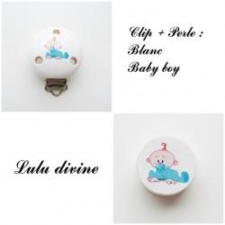 Clip bois + Perle Blanc : Bébé garçon